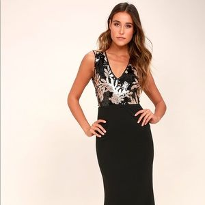 Lulu's Gold and Black Sequin Maxi Dress